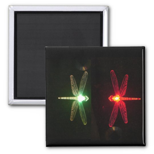 Red and Green glowing dragonflies Magnet