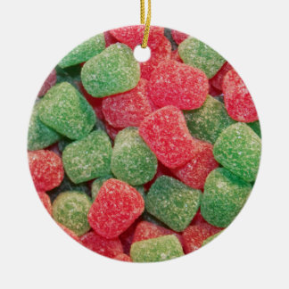 Red and Green Gumdrops Round Ceramic Decoration