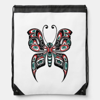 Red and Green Haida Spirit Butterfly on White Drawstring Backpacks