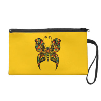 Red and Green Haida Spirit Butterfly on Yellow Wristlets
