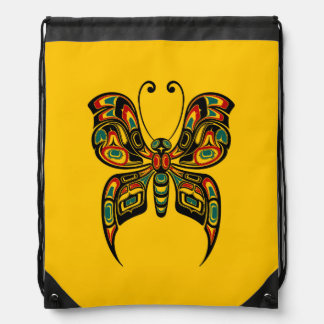 Red and Green Haida Spirit Butterfly on Yellow Drawstring Backpacks