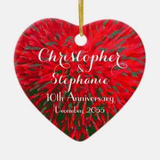Red and Green Heart Anniversary Christmas Holiday Christmas Ornament