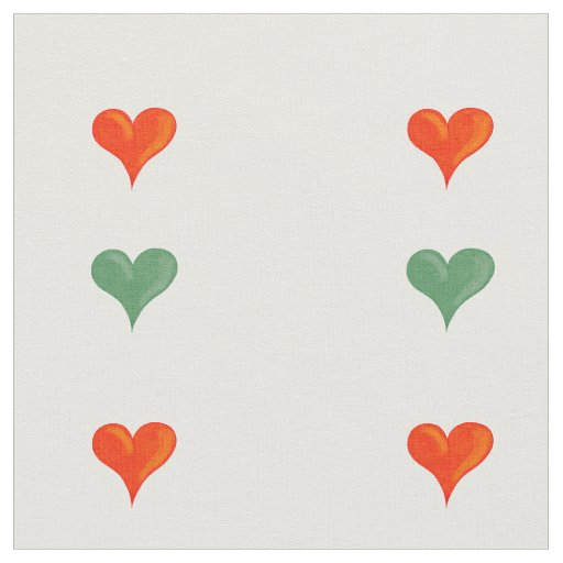 Red and green hearts fabric