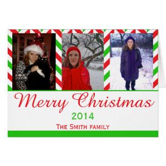 Red and Green Herringbone Christmas Photo Greeting Card