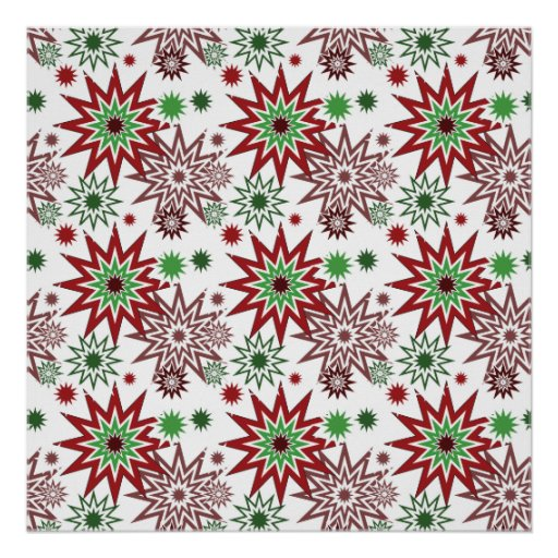 Red and Green Holiday Christmas Snowflakes Pattern Poster