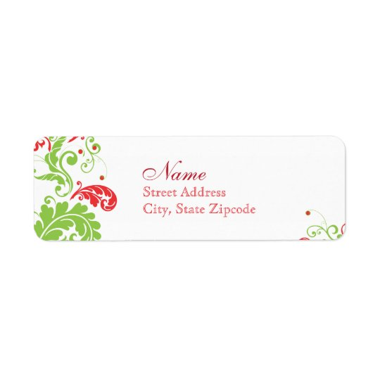Red and Green Holiday Return Address Label