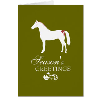 Red and Green Horse Damask Christmas Card