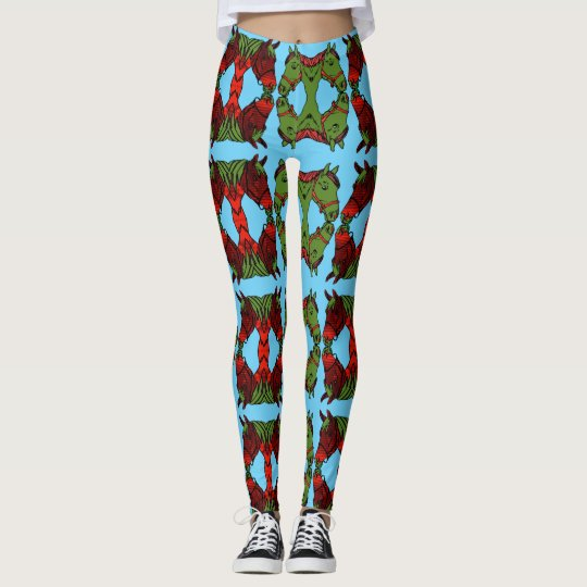 Red And Green Horse Leggings