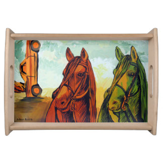 Red And Green Horse Serving Tray