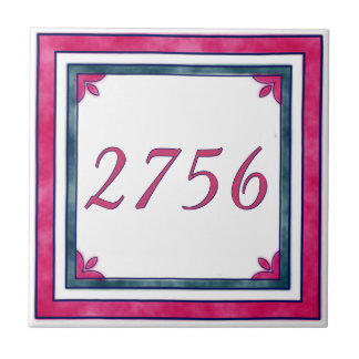 Red and Green House Number Tile
