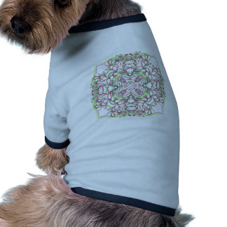 Red and Green Kaleidescope Quad Doodle Ringer Dog Shirt
