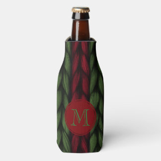 Red and Green Knit Monogram Bottle Cooler