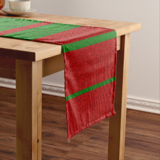 Red and Green Knitting Christmas Holiday Short Table Runner