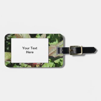 Red and Green Leafy Plant. Luggage Tag