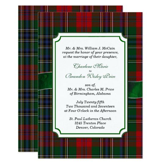 Red and Green MacClain Tartan Wedding Invitation