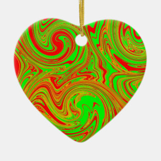 Red And Green Marble Art Ceramic Heart Decoration