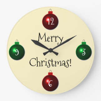 Red and Green Merry Christmas Balls Large Clock
