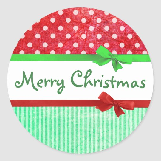 Red and Green Merry Christmas Bows Stickers