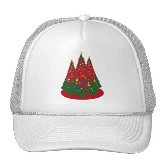 Red and Green Merry Christmas Tree Trucker Hat