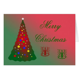 Red and Green Merry Christmas Tree Card