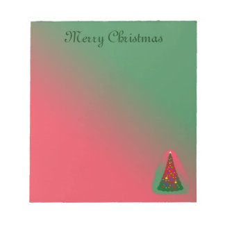 Red and Green Merry Christmas Tree Notepads