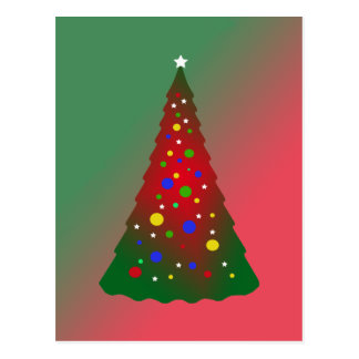 Red and Green Merry Christmas Tree Postcard
