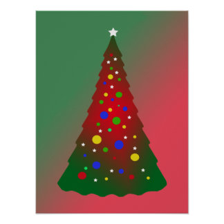 Red and Green Merry Christmas Tree Print