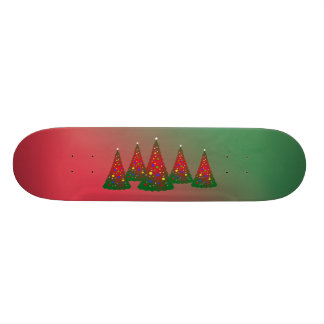 Red and Green Merry Christmas Tree Custom Skate Board