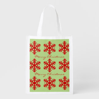 Red and Green Merry Christmas Winter Snowflakes