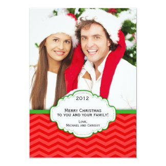 Red and Green Modern Striped Christmas Photo Card 13 Cm X 18 Cm Invitation Card