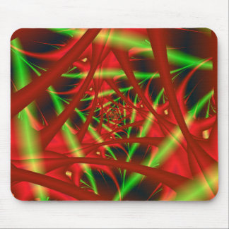 Red and Green Neural Network Spiral Mouse Pad