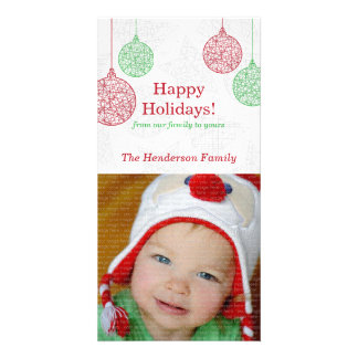 Red and Green Ornament Christmas Photo Cards