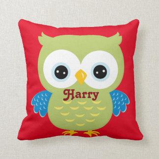 Red and Green Owl Baby Keepsake Cushion