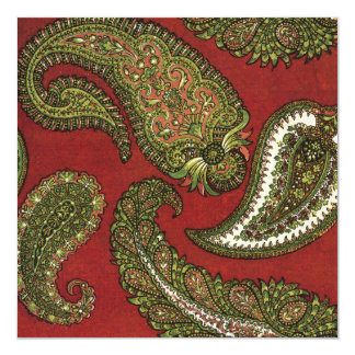 Red and Green Paisley Wedding Invitation