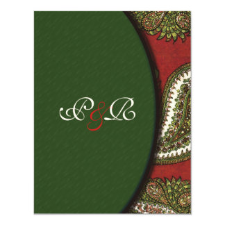 Red and Green Paisley Wedding Invitation RSVP