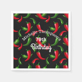 Red and Green Pepper Birthday Napkins Paper Napkins
