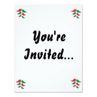 Red and Green Pepper Graphic on a string 11 Cm X 14 Cm Invitation Card
