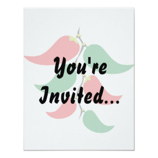"""Red and Green Pepper Graphic on a string 4.25"""" X 5.5"""" Invitation Card"""