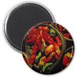Red and Green Peppers in Baskets - Round Magnet