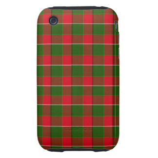 Red And Green Plaid Fabric Background iPhone 3 Tough Covers