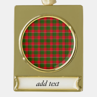 Red And Green Plaid Fabric Background Gold Plated Banner Ornament