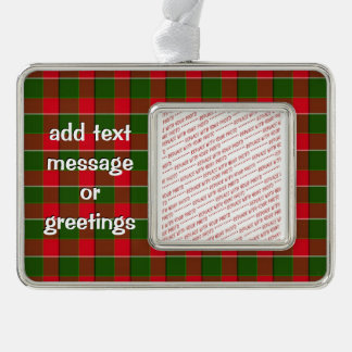 Red And Green Plaid Fabric Background Silver Plated Framed Ornament