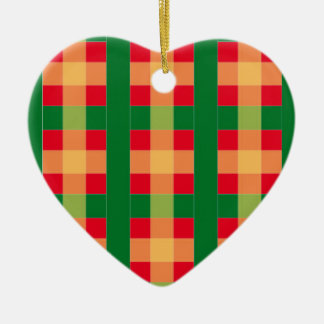 Red and Green Plaid Heart Ornament