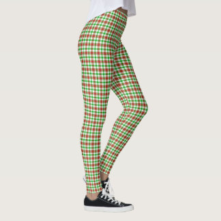 Red and Green Plaid Pattern Leggings
