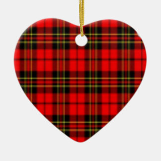Red and Green Plaid Star Ceramic Heart Decoration
