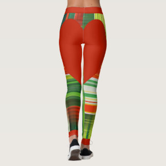 Red and Green Plaid with Red Heart Leggings