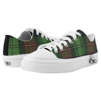 Red and Green Plaid Zipz Low Top Shoes Printed Shoes