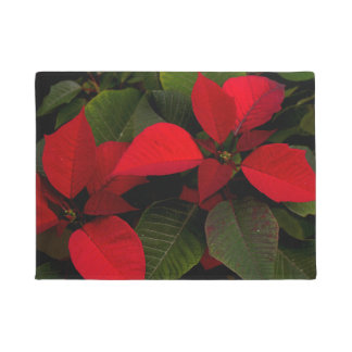 Red and Green Poinsettia Leaf Doormat