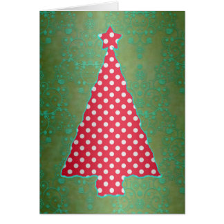 Red and Green Polka Dot Christmas Tree Card