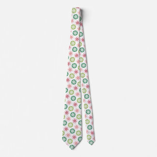 Red and Green Polka Dot Snowflake Pattern Tie